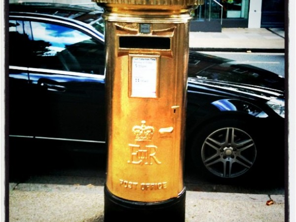 Gold post box Kew Gardens