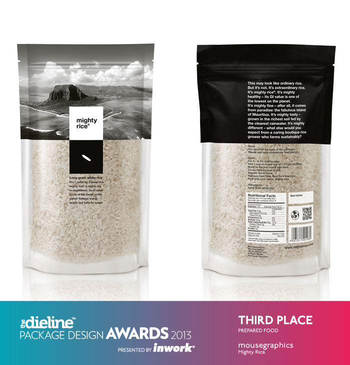 Front and back of Mighty Rice packaging