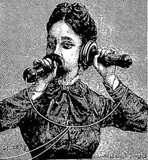 Old fashioned illustration of Victorian woman on old phone to show that working from home can have distractions and you need to decide when to answer calls or not