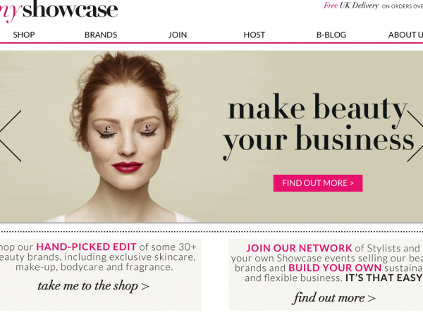 Screenshot of a top website set up by one of the UK's top women in business