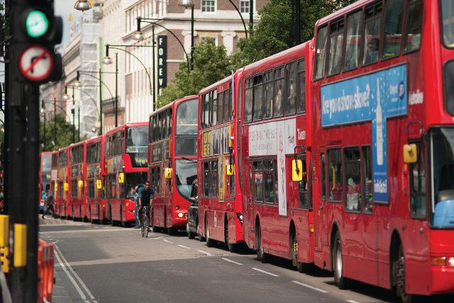 Visual of buses along Oxford Street to show that Creative copywriting briefs often come all at once, just like buses, so knowing how to juggle them is one of the essential copywriting skills