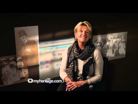 Visual of a clip taken from a TV commercial for MyHeritage by London copywriter Caroline Gibson as one of her work highlights
