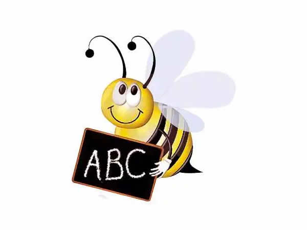 Illustration of a bee holding a blackboard saying ABC for a blog by Caroline Gibson about words commonly misspelt