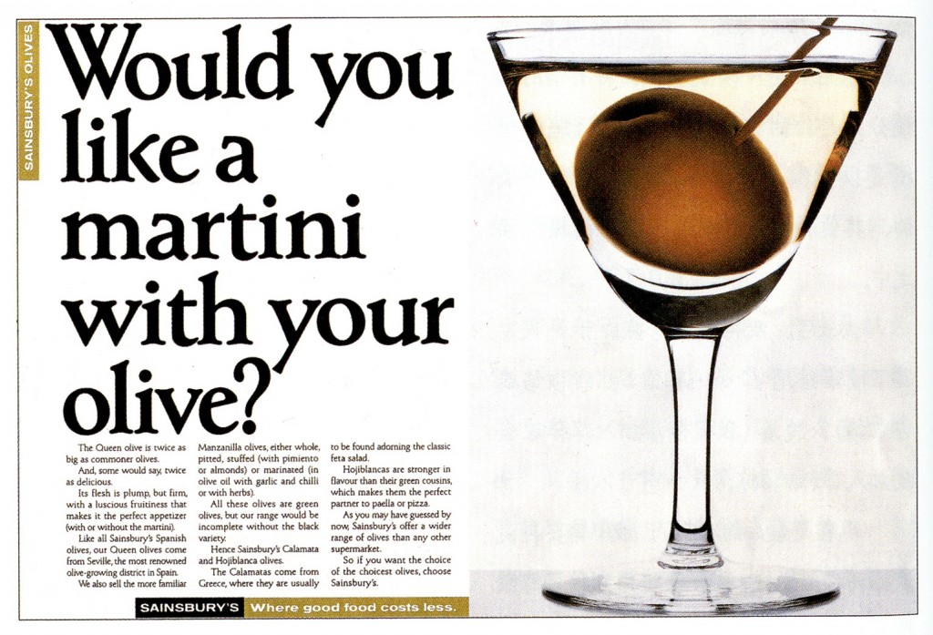 Old Sainsbury's ad with headline saying Would you like a martini with your olive as a great example of the Difference Between A Headline, Strapline, Tagline And Slogan