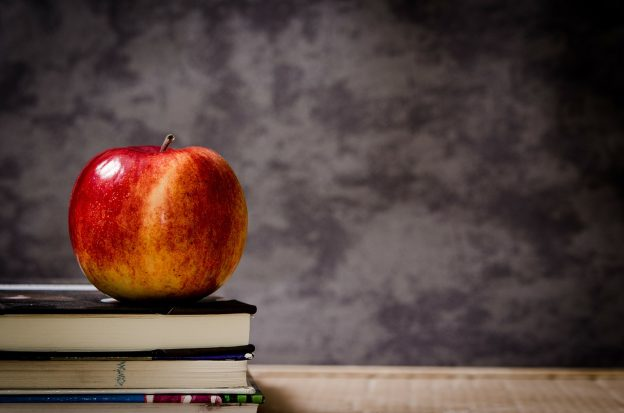An apple on books in front of a blackboard is used as an image in this blog about a teacher interested in how to become a freelance copywriter