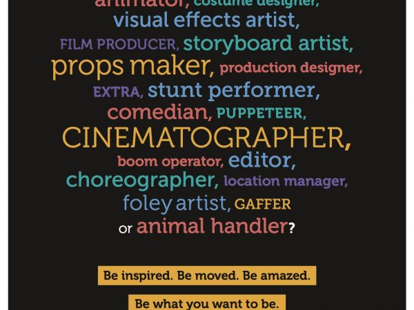 Copywriting this ad for BAFTA involves a list of various jobs and careers to follow and get advice on from BAFTA Guru, ending by saying Be amazed, be inspired, be what you want to be