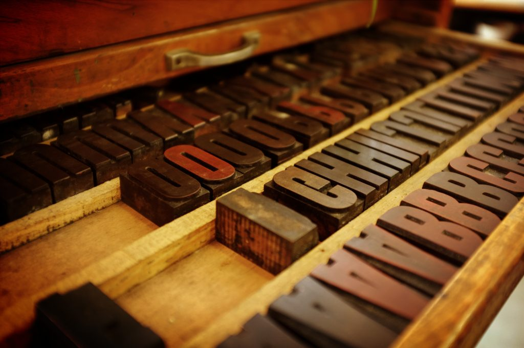 This is a photo of letters used in printing in freelance copywriter Caroline Gibson's blog about typography as a lost craft in advertising