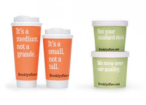 Packaging copy on coffee cups and stock pots to show that packaging copy can b fun and not boring, as explained in Caroline Gibson freelance copywriter's blog about creating the right tone of voice for a brand
