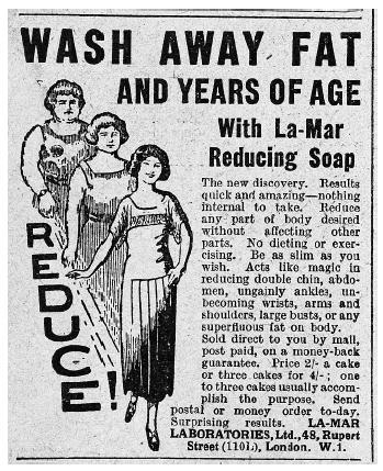 An old fashioned black and white newspaper ad with a headline saying 'Wash away fat and years of age with La-Mar Reducing Soap' to illustrate claims that used to be made about beauty products before advertising bodies such as the ASA laid down strict rules. Beauty copywriter and freelance copywriter Caroline Gibson uses this ad to make this point in her blog about how hard it is for non-surgical aesthetics clinics and beauty brands to make claims as a point of difference