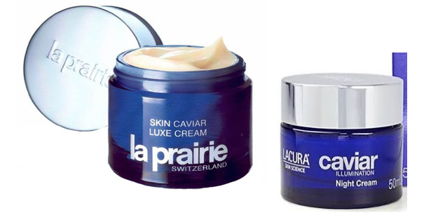 A photo of a jar of La Prairie Skin Caviar Luxe beside a similarly branded moisturiser by Aldi - Lacura Caviar Day Cream – which costs several hundred pounds less but is said to be very similar. Freelance beauty copywriter, Caroline Gibson, uses this to illustrate that there may be no real benefit in paying a lot of money for an expensive moisturiser when a cheap one is just as effective.
