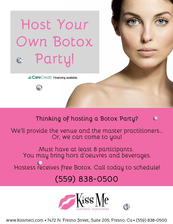 Ad for Botox party which is now illegal to do, as explained in Caroline Gibson's blog about aesthetic marketing
