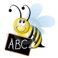 A bee holding a blackboard on which is written ABC which is a visual metaphor for a spelling bee, as discussed in this blog on frequently misspelt words in business