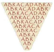 This inverted triangle showing the letters that make up ABRACADABRA illustrates how you need to make the most important point first when writing short copy for an ad, then list the other less important points underneath