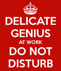 Red poster saying Delicate Genius at work Do not disturb which is a headline that sums up that you need to be focussed when working from home