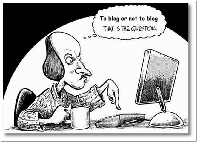 Cartoon showing William Shakespear and a funny adaptation of his line To be or not to be, that is the question which is written as To blog or not to blog, that is the question. This is used in a blog by copywriter Caroline Gibson about the importance of social media in Stack of coins to show that you must know where to spend your marketing budget when choosing most important marketing communication channels