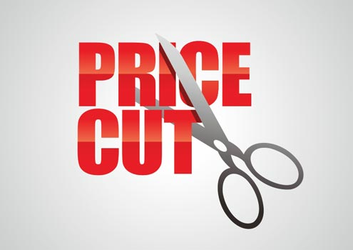 Visual of scissors cutting through wording saying Price Cut for Caroline Gibson's blog on copywriting lessons learned over 25 years
