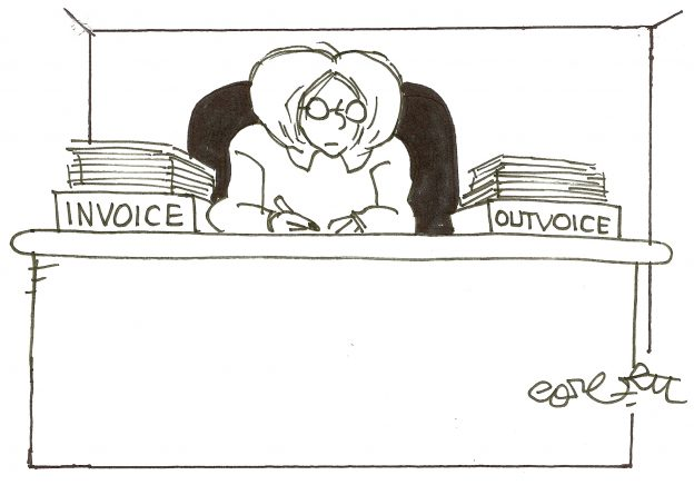 This cartoon of a woman at her desk with invoices and outvoices illustrates the point that it is important not to let unpaid invoices stack up as a freelance copywriter