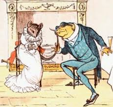 Illustration of a frog wooing a mouse as a metaphor for wooing business clients in creative pitches for a successful client pitch