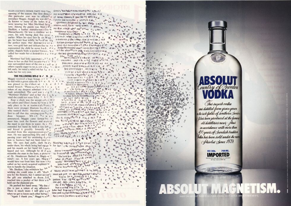 This is an ad for Absolute Vodka which cleverly has typeset letters flying away as they are magnetised to the vodka bottle as an example of excellent typography in advertising in freelance advertising copywriter Caroline Gibson's blog about typography and whether it is a dying skill in advertising