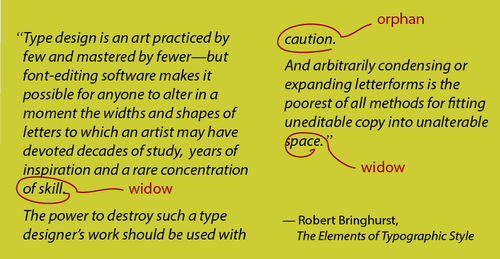 This is an excerpt from Rpbert Bringhurst's book 'The Elements of Typographic Style' to explain what is meant by widows and orphans in freelance copywriter Caroline Gibson's blog about the dying craft of typography in advertising