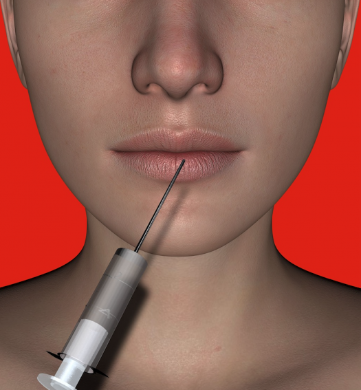 A photo of a beautiful woman with an injection needle by her face as if about to have a BOTOX or HA filler injection, to illustrate how popular non-invasive cosmetic procedures have become, as written about in medical copywriter Caroline Gibson's blog