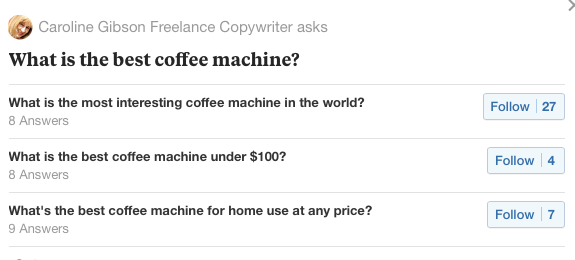 Example of a search on coffee machines on Answer The Public to identify typical questions people ask relating to this subject. It forms a blog about identifying the right questions to ask for voice search optimisations when copywriting websites