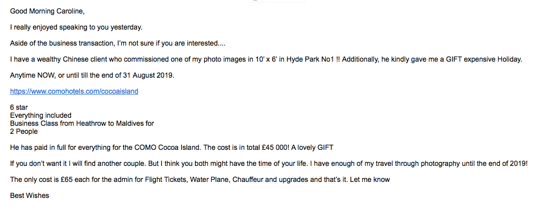 Email from Alex Jones offering free holiday in Maldives - for an admin fee paid to his bank account