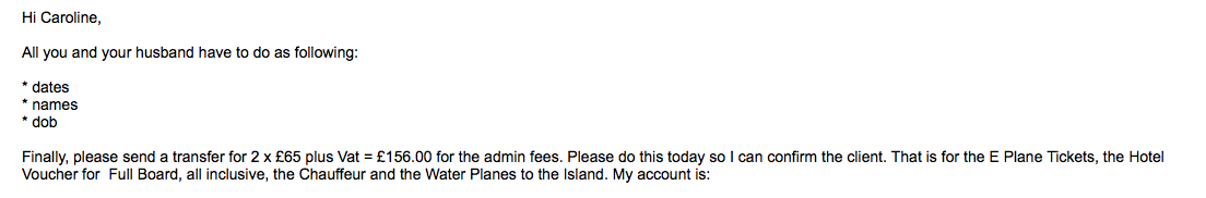 Email from Alex Jones requesting information and admin fee for Maldives trip