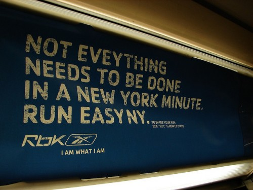 Reebok poster with typo as an example of typos in advertising in Caroline Gibson's blog about rules of grammar