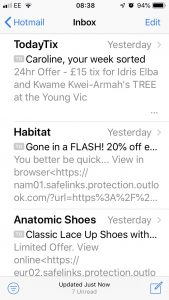 Screen shot of emails on my mobile to show importance of short copy in my blog on How to write emails