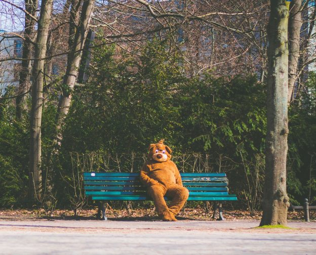 Person in bear costume on bench as visual metaphor for a disguised employee for blog about IR35
